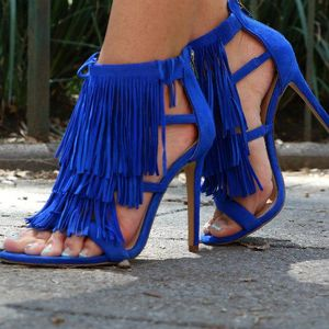 Steve madden fringed heels royal blue brand new in box paid $140 6.5 for Sale in Fremont, CA