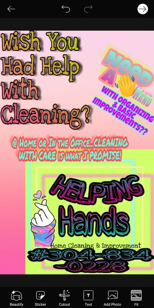 Helping Hands. Home & Office Cleaning and Improvements for Sale in Davisville, WV