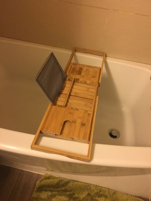 Wooden bath tray with book holder and wine glass holder for Sale in Silver Spring, MD