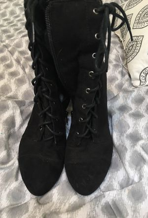 Black suede woman boots. Sz 7 for Sale in Ashburn, VA