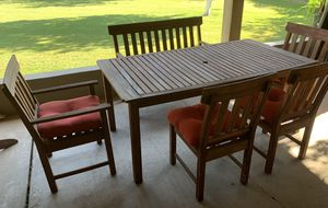 Outdoor Patio Furniture - Wood Table, 4 chairs and one love seat for Sale in Phoenix, AZ