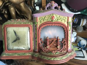 Antique metal clock with artificial flame for Sale in Carlsbad, CA