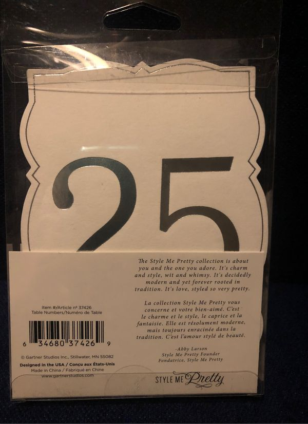 Wedding or event table number 1-25