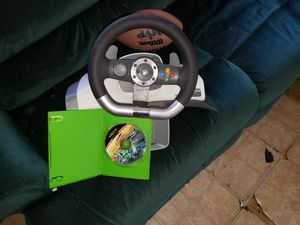 Xbox 360 steering wheel and game for Sale in Bluffton, IN