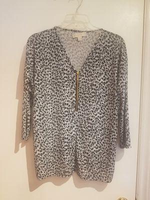 Michael Kors Zip Front Vneck Shirt Blouse Pullover Size M for Sale in Lexington, SC