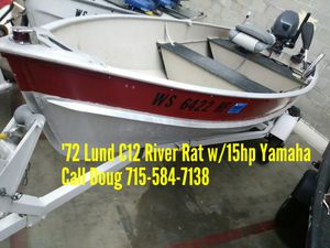 1972 Lund C12 River Rat w/15hp Yamaha for Sale in Shawano, WI