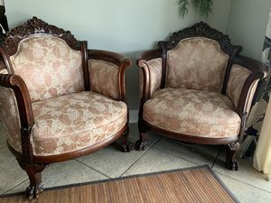 Antique Carved Clawfoot Parlor Chairs for Sale in North Port, FL