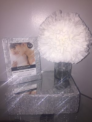 (4 pieces Home Decor) Rhinestone mirror & Rhinestones glass vase & Paper flower bouquet & Rhinestone picture frame for Sale in St. Louis, MO