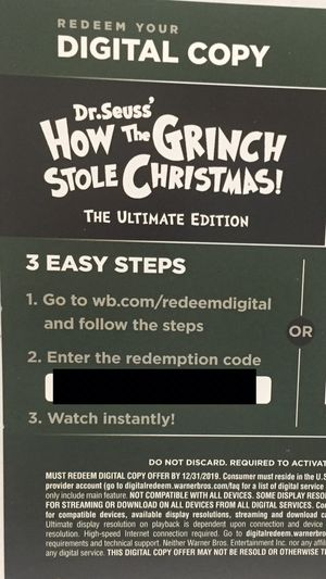 Classic How the Grinch Stole Christmas Digital Movie Redemption Code for Sale in Cerritos, CA