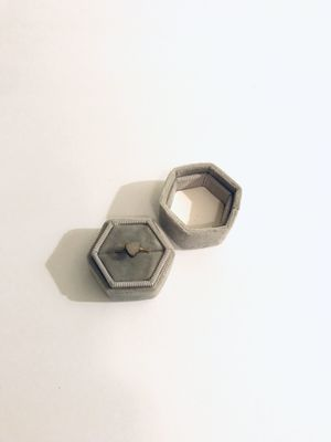 Grey Hexagon velvet ring box (wedding ) - one ring box only for Sale in Redondo Beach, CA