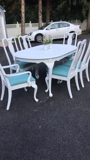 Kitchen/dinning room table with 6 chairs. Freshly painted in white chalk paint and new fabric on chairs for Sale in Harwood, MD