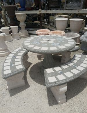 Concrete Mosaic Picnic Table with 3 Benches/ Outdoor Patio Furniture for Sale in Miami, FL