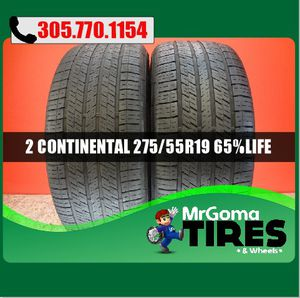 2 CONTINENTAL 4X4 CONTACT MO 275/55/19 USED TIRES 111H MERCEDES DODGE 2755519 for Sale in Miami, FL
