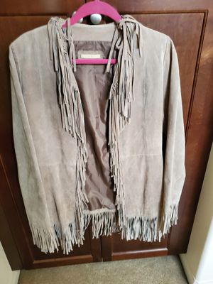 Lite tan leather full fringe womans coat for Sale in Bakersfield, CA