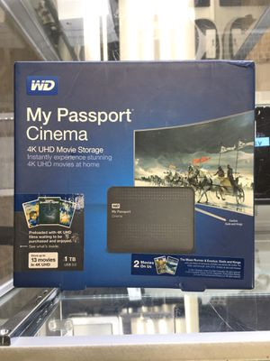 Portable Hard Drive HDD 1TB My passport cinema 4K UHD storage for Sale in Lynn, MA