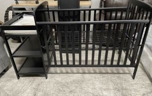 Black Crib With Attached Changing Table/Storage Shelves for Sale in North Las Vegas, NV