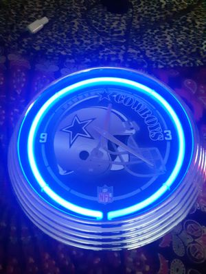 Dallas Cowboys Football Bar Man Cave Blue Neon Wall Clock Sign for Sale in Phoenix, AZ