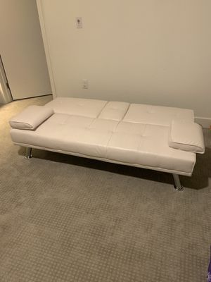 White leather futon couch for Sale in Las Vegas, NV