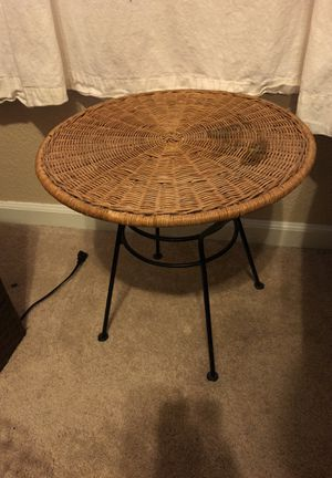 Wicker & iron bedside table / patio furniture for Sale in Gold River, CA