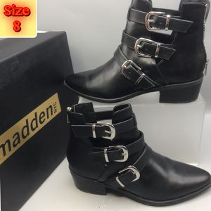 Madden women's 3 Side buckles back zipper Ankle Boot size 8 for Sale in Red Bank, NJ