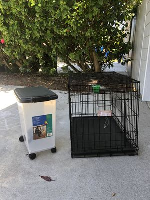 Dog crate and food storage bin for Sale in Solana Beach, CA