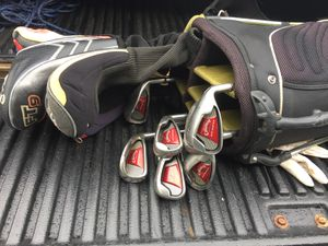 Full set of golf clubs, bag, an extra driver, cross now, and small air compressor.... cleaning out my shed. for Sale in Martinsburg, WV