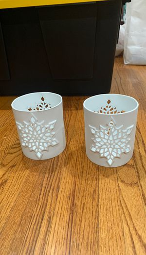 Snowflake votive candle holder jar crate and barrel pottery barn west elm Christmas holiday Hanukah for Sale in Los Angeles, CA