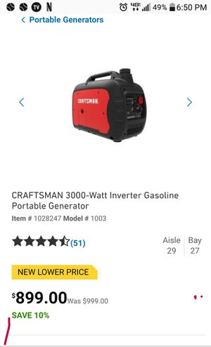 Craftsman 2300 watt gasoline quiet noise generator 45o 500 brand-new goes for 800 {contact info removed} for Sale in Odessa, TX