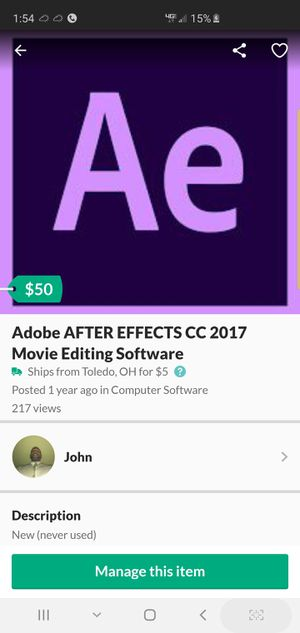 Adobe AFTER EFFECTS CC 2017 Movie Editing Software for Sale in Toledo, OH