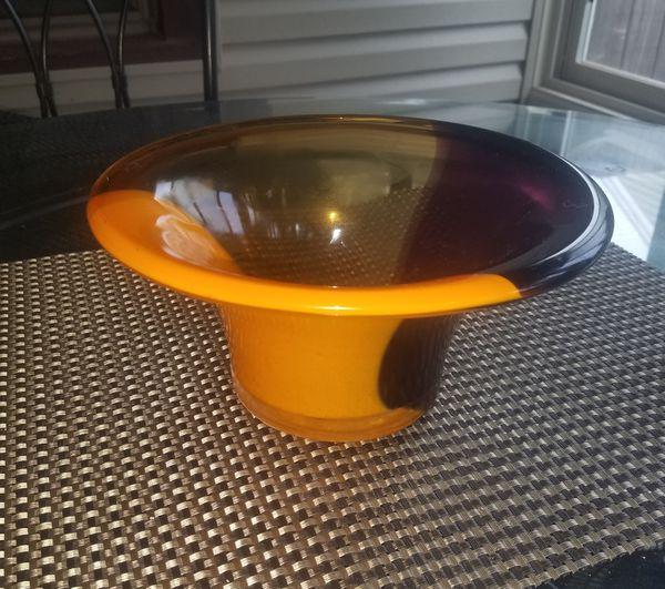 Orange and purple glass Decor Bowl