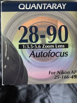 Quantaray Autofocus 28-90mm (3.5-5.6 Zoom Lens). Fits Nikon AF-D Models for Sale in Beaverton,  OR