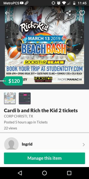 Two tickets to Cardi b and Rich the kid at South Padre island for Sale in Victoria, TX