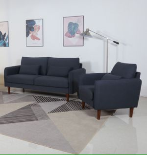 2PC Brand New Stationary Linen Fabric Living Room with Throw Pillows Sofa SET for Sale in La Verne, CA