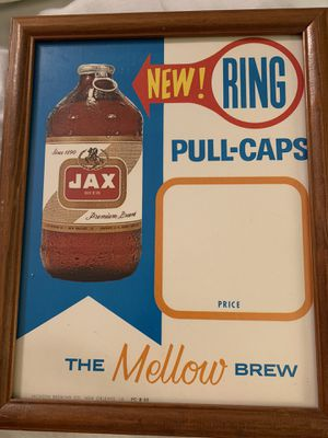 12.5x15.5 antique vintage 1960s 1970s JAX advertising sign in frame. Great man cave item. Original authentic bought in Rosebud Texas from a collecto for Sale in Buda, TX