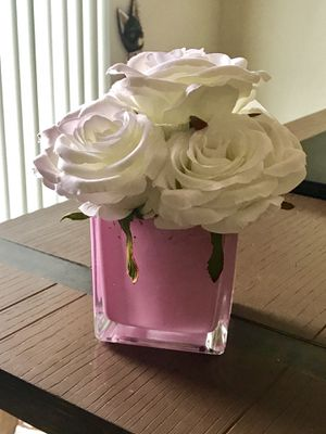Pink vase with artificial flowers for Sale in Bothell, WA