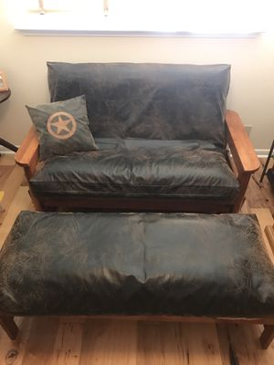 Futon Solid Wood & Leather for Sale in Highlands, TX