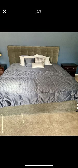 Sleep Number King upholstered bed: headboard, rails and footboard for Sale in Venice, FL