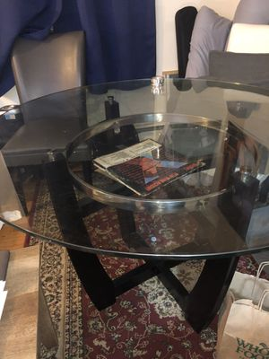 Glass dining room table with four chairs for Sale in New York, NY