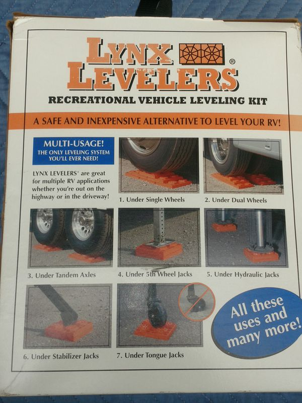 RV Lynx Levelers. Safely level motorhome, trailer or other vehicles. Brand New in Bag and Box