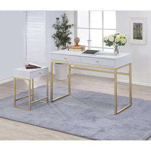 Silver Orchid Heston White & Brass Desk for Sale in East Providence, RI