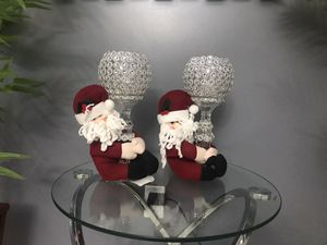 Two clear cut glass candle holders sale for Sale in Port St. Lucie, FL