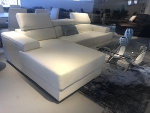 White leather sectional sofa - adjustable head rests for Sale in Rockville, MD