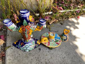 Talavera candle holders and bell. Mexican pottery for Sale in Santa Clara, CA
