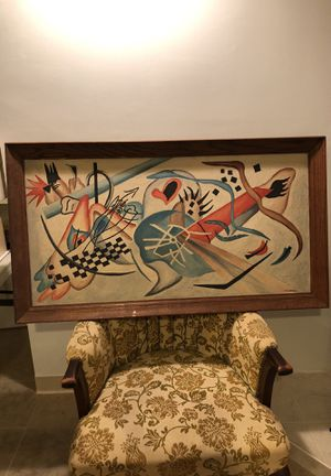 """Vintage CLADEL Oil on Canvas American Indian Art Abstract 24.5"""" x 45"""" from an Estate Cleanout as Pictured for Sale in Berlin, NJ"""