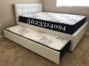 Full/twin white trundle bed w. Orthopedic mattresses included for Sale in Livingston, CA