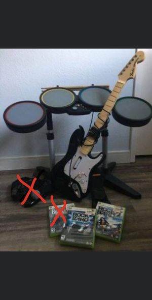 Xbox 360 Rockband drums, guitar + 2 games for Sale in Long Beach, CA