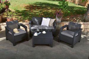 Outdoor Patio Furniture Garden Home Set Muebles de patio Jardín Terraza Keter Corfu Cushions for Sale in Medley, FL