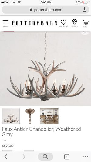 Faux Antler Chandelier, Weathered Gray, Small for Sale in Washington, DC