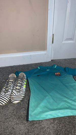 Barcelona jersey and soccer shoes for Sale in Baltimore, MD