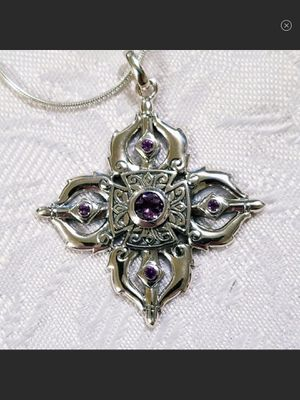 NWT Sterling Silver & Amethyst Buddhist Dorji Pendant for Sale in Durbin, WV